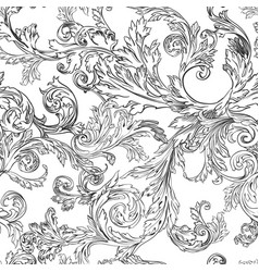 vintage flora and leafage foliage monochrome vector image