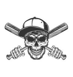 Vintage gangster skull in baseball cap vector