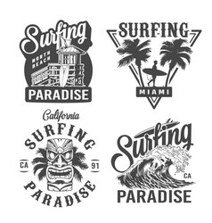 Vintage surfing time prints vector