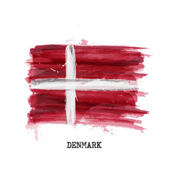 Watercolor painting flag denmark vector