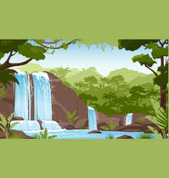 waterfall in green jungle rainforest fresh vector image