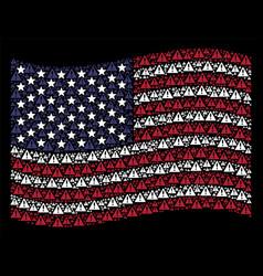 Waving united states flag stylization of warning vector