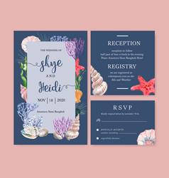 Wedding invitation watercolor design with sea vector