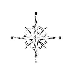 wind rose sign black dotted icon on white vector image