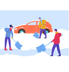 Winter man and woman clean car out snow remove vector