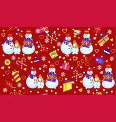 Winter pattern with snowmen snowflakes and gifts vector