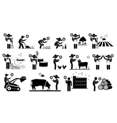 Workers from agriculture industry using mobile vector