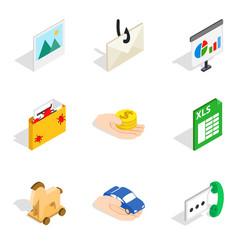 Worldwide web icons set isometric style vector