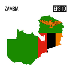 zambia map border with flag eps10 vector image
