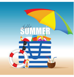 Bag for beach summer with accessory and coconut vector