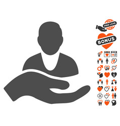 client care hand icon with dating bonus vector image