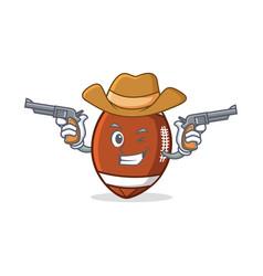 cowboy american football character cartoon vector image vector image
