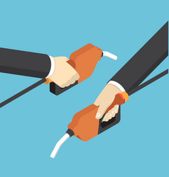 isometric businessman hands holding fuel nozzle vector image vector image