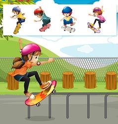 Kids playing skateboards in park vector