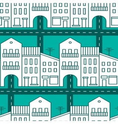 Seamless pattern with houses and streets vector image vector image