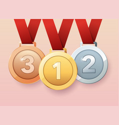 set of gold silver and bronze medals flat design vector image