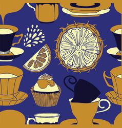 tea time pattern design vector image vector image