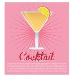 cocktail cosmopolitan drink pink background vector image