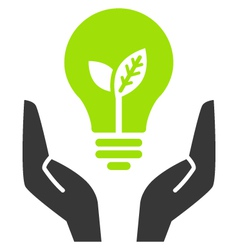 green ecology bulb in open hands vector image vector image