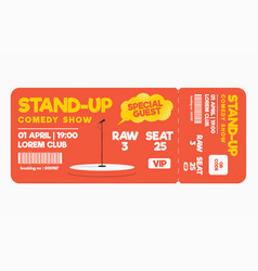 stand up comedy show ticket isolated on white vector image vector image