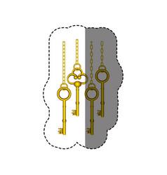 sticker pattern with vintage golden keys hanging vector image vector image