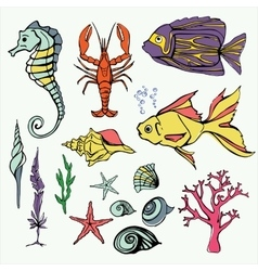 Underwater world Big Set Hand Drawn vector image