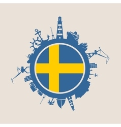 Cargo port relative silhouettes sweden flag vector
