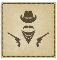 cowboy hat and gun old background vector image vector image