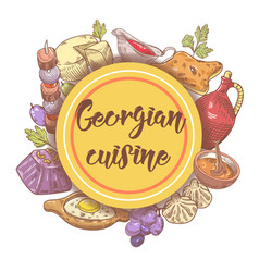 hand drawn georgian food menu georgia cuisine vector image vector image