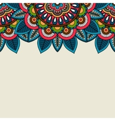 Indian doodle floral colored border vector image vector image