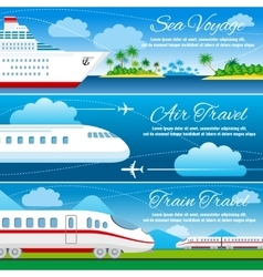 Summer travel horizontal banners set vector image