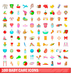 100 baby care icons set cartoon style vector image vector image