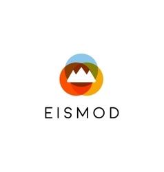 Abstract summit mountain logo design top vector