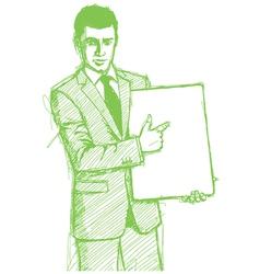 businessman write board vector image vector image