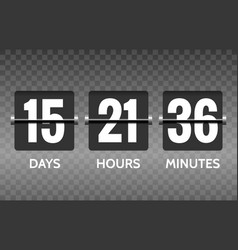 flip countdown timer numbers on transparent vector image vector image