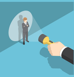 Isometric hand pointing flashlight at businessman vector