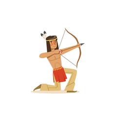 native american indian kneeling and shooting a bow vector image vector image