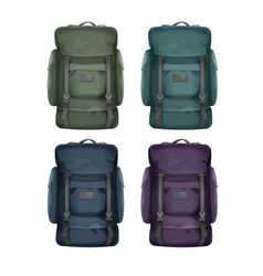 set of big travel backpacks vector image