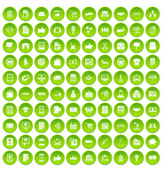 100 business icons set green vector