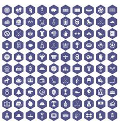 100 hockey icons hexagon purple vector
