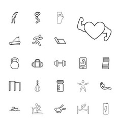 22 fitness icons vector