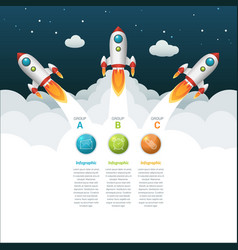 3 groups business start-up timeline infographic vector