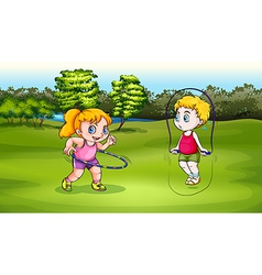 A boy and a girl playing vector