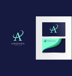 a space satellite logotype with business card vector image