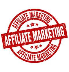 Affiliate marketing round red grunge stamp vector