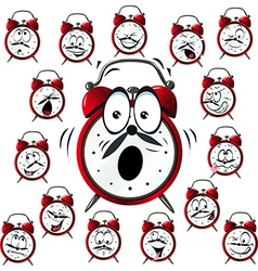 Alarm clock cartoon with many facial expressions vector