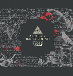Alchemy background with mystic sketches and notes vector