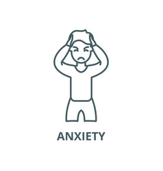 Anxiety line icon outline concept linear vector