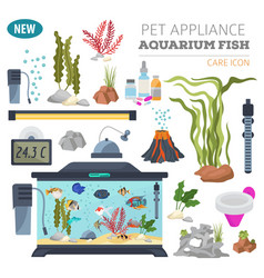 aquarium appliance icon set flat style isolated vector image