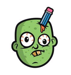 art funny zombie head vector image
